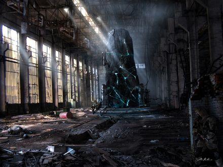Обои Камень стоящий на заброшенном заводе покрылся трещинами и вот-вот взорвется