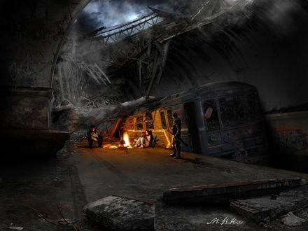 Обои Катастрофа в метро (вечер, люди у костра)