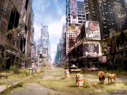 Обои Дикий и покинутый Таймс-сквер