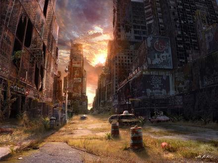 Обои Дикий и покинутый Таймс-сквер на закате