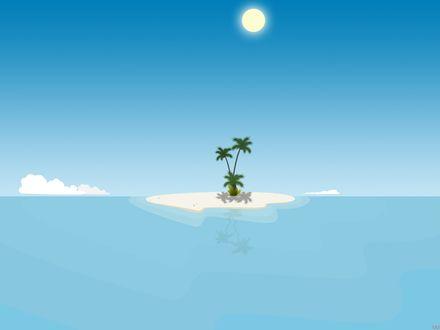 Обои Необитаемый островок в безбрежной синеве океана