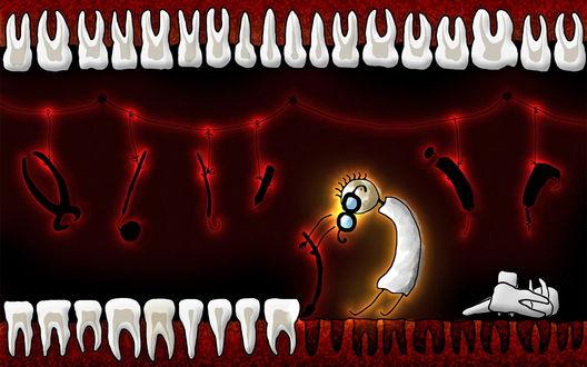 Обои Зубной садист выдирает зубы страшными инструментами