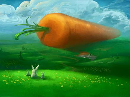 Обои Три зайца смотрят на огромную морковку