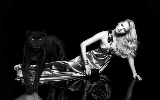 Обои Блондинка с черной пумой