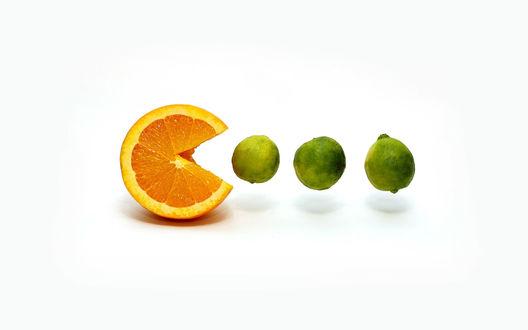 Обои Апельсин ест лаймы