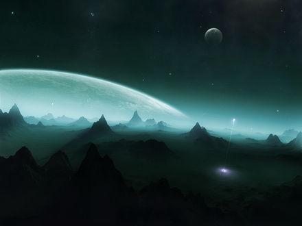 Обои Неизвестная скалистая планета, звездопад