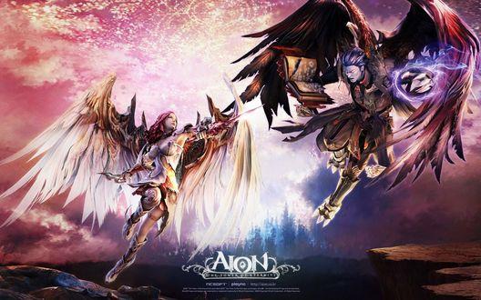 Обои Борьба между двумя расами. Aion: The Tower of Eternity.