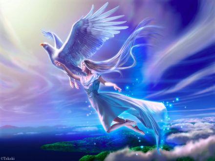 Обои Девушка летит по небу вместе с орлом, указывающим ей путь