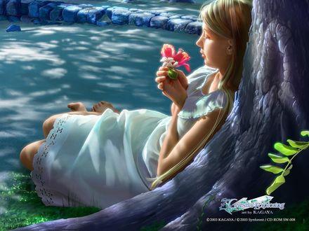 Обои Девушка держит цветок в руках, лежа не берегу реки. Celestial Exploring.
