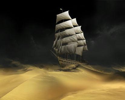 Обои Корабль в песках