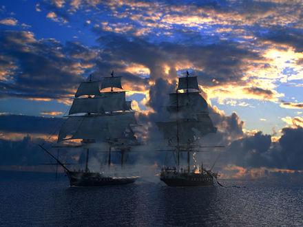 Обои Два корабля в море