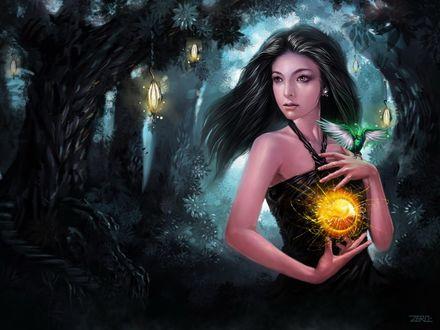 Обои Девушка держив магическую сферу в руках, на плече у нее сидит зеленая птица