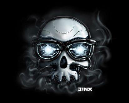 Обои Дымящийся череп  в очках (JiNX team)