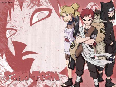 Обои Gaara, Temari и Kankuro из аниме Naruto, art by Masashi Kishimoto