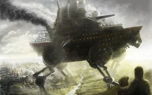 Обои Корабль на ногах, путешествует и разрушает все на своем пути