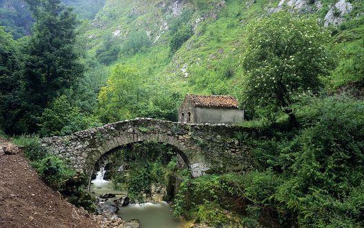 Обои Через неширокий ручей перекинут древний полуразрушенный каменный мост, дорога , которая через него проходит, приводит нас  к такому же древнему  покосившемуся строению,которое трудно назвать домом.