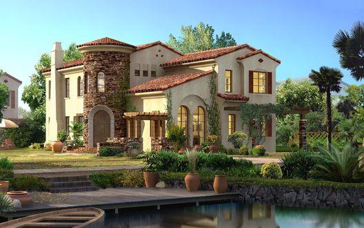 Обои Большой дом возле озера