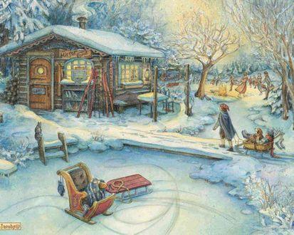 Обои Рождественские праздники...  Детишки катаются на санках и на коньках рядом с  домиком, где можно обогреться  и перекусить. На стенах этой маленькой харчевни можно увидеть зазывающие вывески *Hot cockolate* и другие. Всё так  красиво и мирно... (Mirror Pon