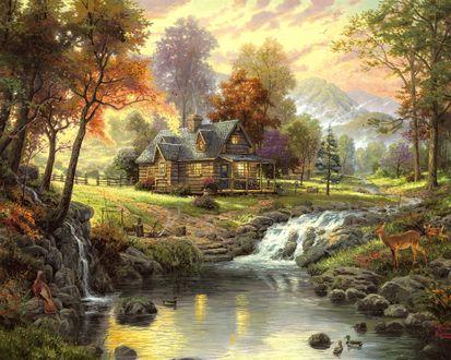 Обои Незатейливый  сельский домик в лесу, на берегу ручья с маленьким водопадом. В нем плавают утки и подошли попить воды красивые лани