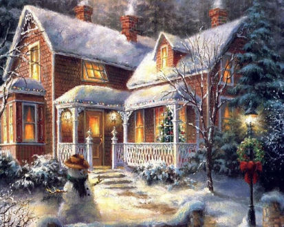 Обои Сказочный рождественский дом со снеговиком во дворе