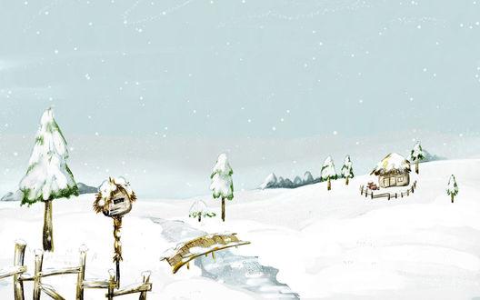 Обои Скворешник, дом, лесок, а рядом маленький мосток...