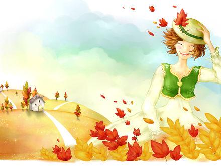 Обои По дорожке вышагивает счастливая улыбающая девушка, сзади виднеется симпатичный домик