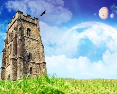 Обои Древняя каменная башня, очень похожа на ту, в которую очень любили прятать красивых принцесс. В небе парад планет. A dreаmy world. A man's dreams are an index to his greathess