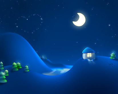 Обои Снег.. ёлочки.. игрушечный домик.. в небе полумесяц и созвездие в виде сердечка