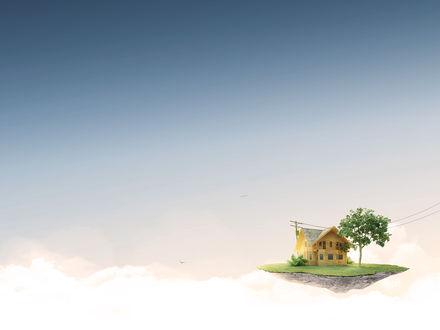 Обои Маленький островок плывёт в небе, на нём домик, дерево и столб с проводами, уходящими неизвестно куда