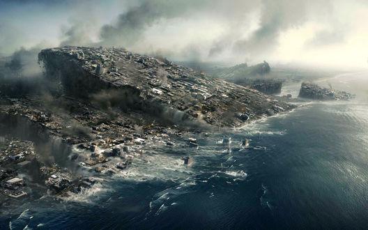 Обои Фильм 2012 плита с городом тонет в океане