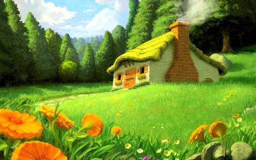 Обои Домик на лесной опушке, art Chris Beatrice
