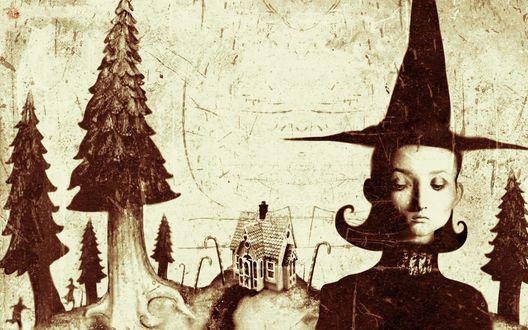 Обои Девушка в шляпе волшебницы на фоне людей бегущих друг за другом к пряничному домику вокруг которого расставлены сладкие палочки и ели