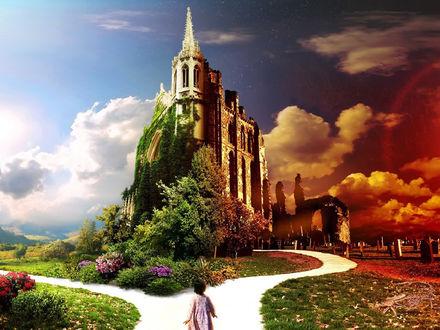 Обои Девочка подошла к высокому сказочному замку одна половина которого находится в далеком будущем, другая в насоящем