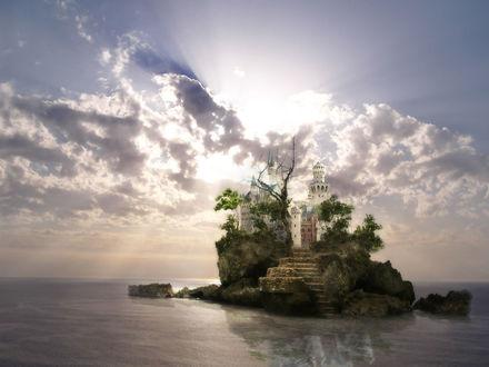 Обои Лестница ведущая к замку на острове