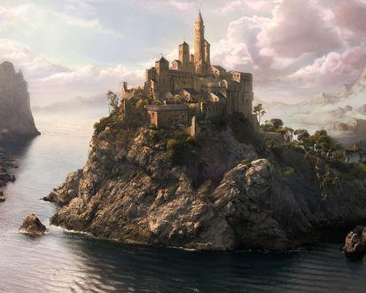 Обои Дворец на скалистом острове