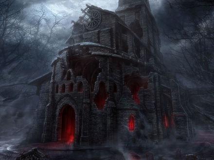 Обои Разрушенная церковь со светящимися окнами из игры Diablo