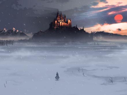 Обои Девушка, идущая к замку, освещённому закатом