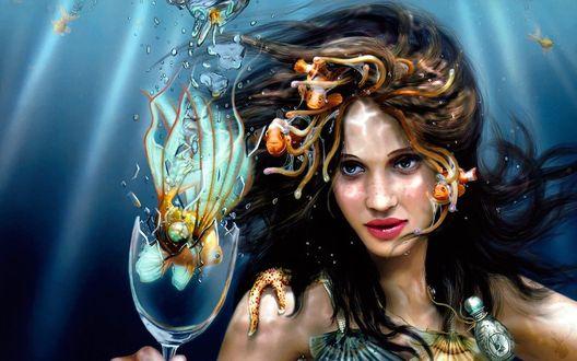 Обои Русалка с золотой рыбкой