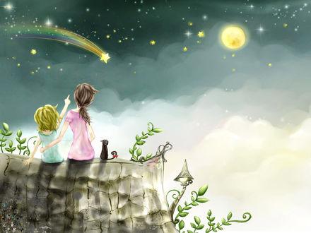 Обои Две девочки и кошка на крыше смотрят на падающую звезду
