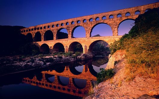 Обои Pont, Gard, Languedoc-Roussillon, France