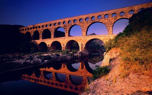 Обои Pont, Gard, Languedoc-Roussillon, France