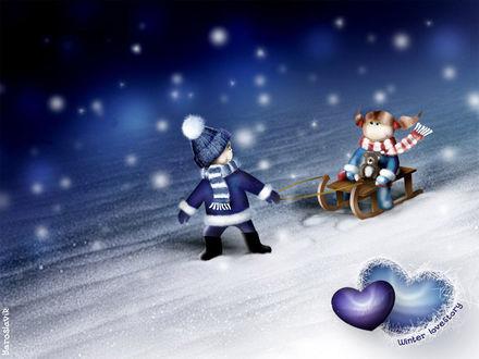 Обои Мальчик катает девочку на санках (winter love story)