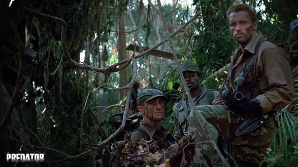 Обои Дилон (Carl Weathers), Датч (Арнольд Шварцнегер)  из фильма «Хищник» (Predator)