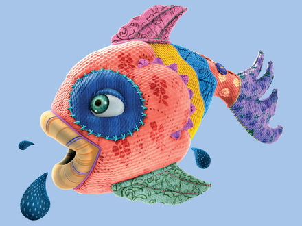Обои Рыба из ткани