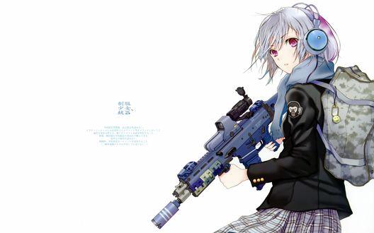 Обои Девочка в наушниках со снайперской винтовкой, художник Haruaki Fuyuno