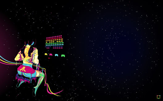 Обои Девушка с большой попой играет в космических захватчиков