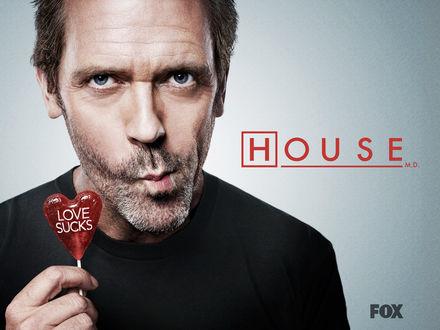 Обои Хаус сосёт леденец с надписью «LOVE SUCKS» в сериале «House m.d.» (House M.D. Fox)