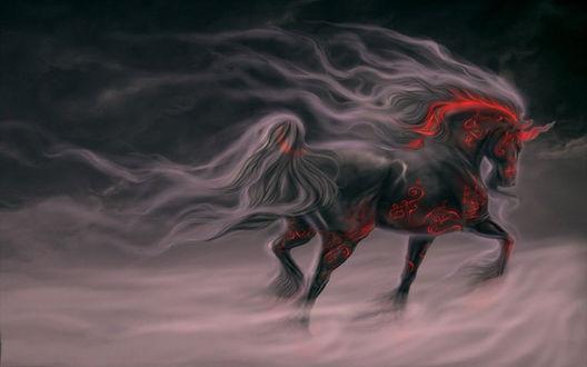 Обои Красный конь