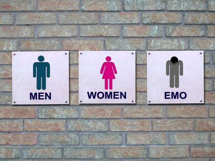 Обои На стене туалета таблички «MEN», «WOMEN», «EMO»