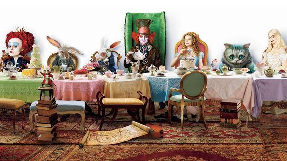 Обои Алиса в стране чудес (Alice in Wonderland) Безумное чаепитие, тут все-Красная королева, Соня, Белый Кролик,  Мартовский Заяц, Болванщик, Алиса, Чеширский Кот, Белая Королева